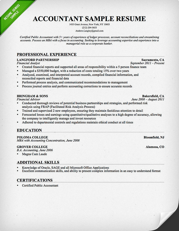 Ordinaire Accountant Resume Sample