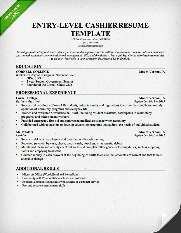 Cashier Resume Template Entry Level  Employment Resume Template
