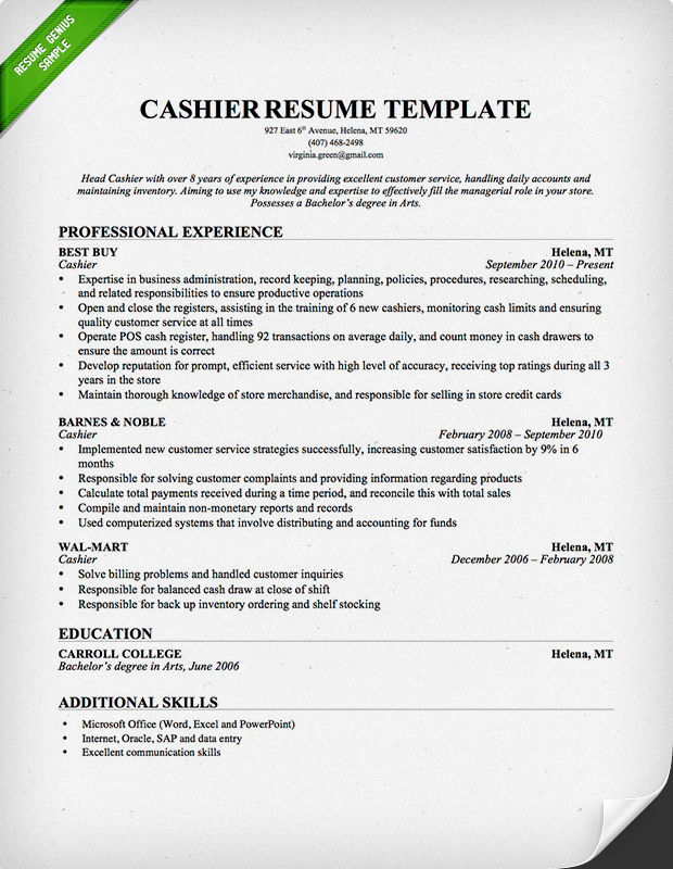 cashier resume template professional - Example Resume For Cashier