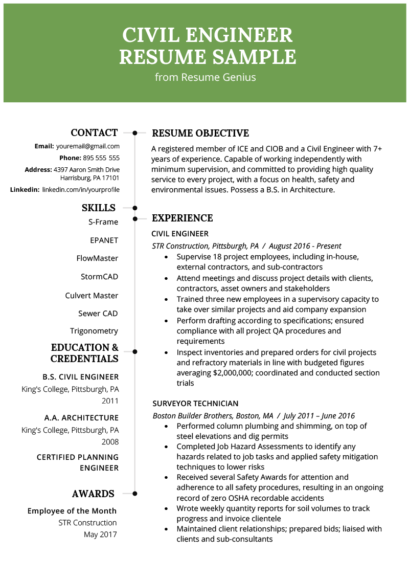 civil engineering resume example template