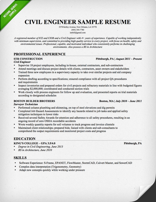 Civil Engineer Resume Sample  Resumes For Engineers