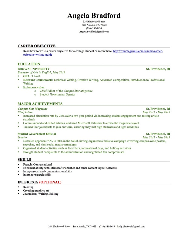 ... College Graduate Résumé Sample.  Objective Portion Of Resume