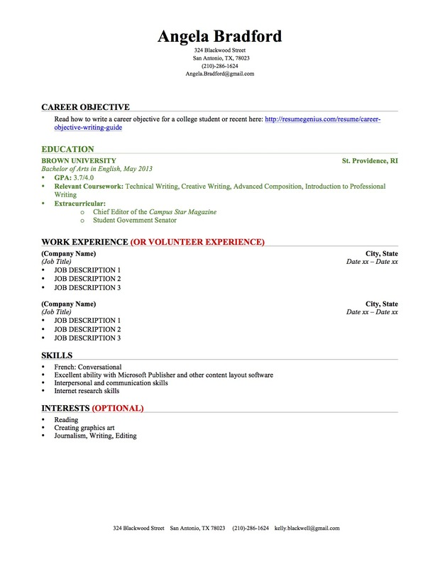 High Quality College Student Resume Education Work Experience Idea Education Section Of Resume