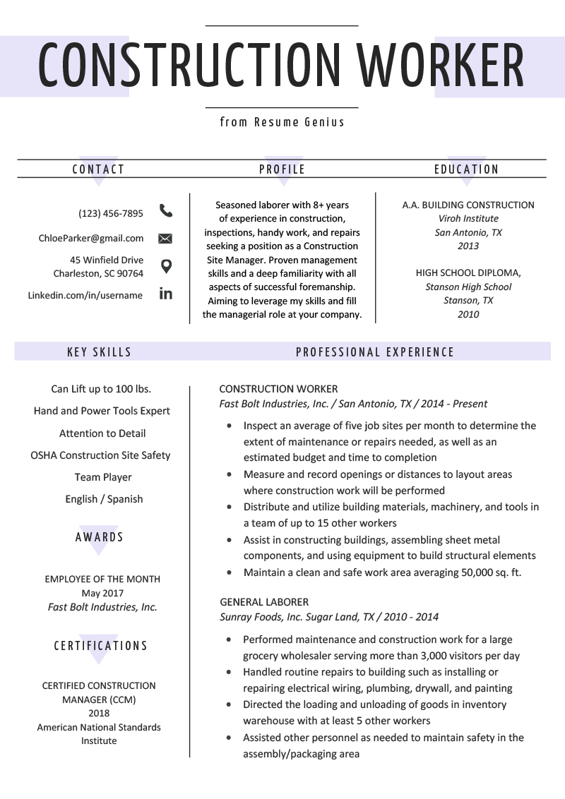 construction worker resume example template