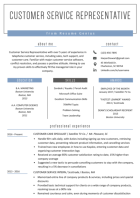 Resume Customer Service Representative View Example
