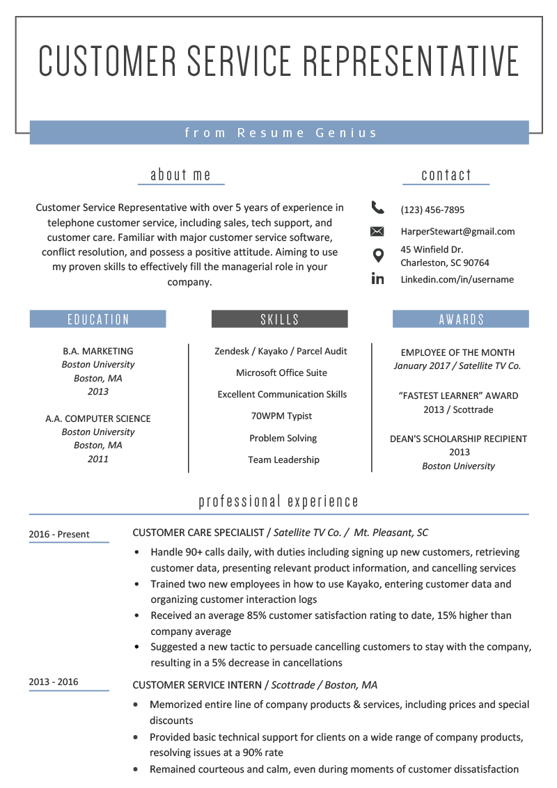 Customer Service Representative Resume Example Template
