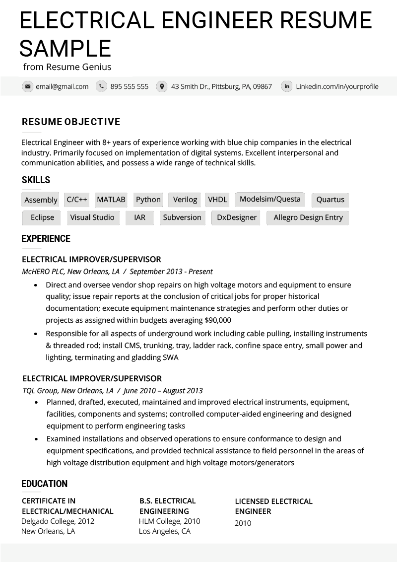 Skills Resume Template | Electrical Engineer Resume Example Writing Tips Resume Genius