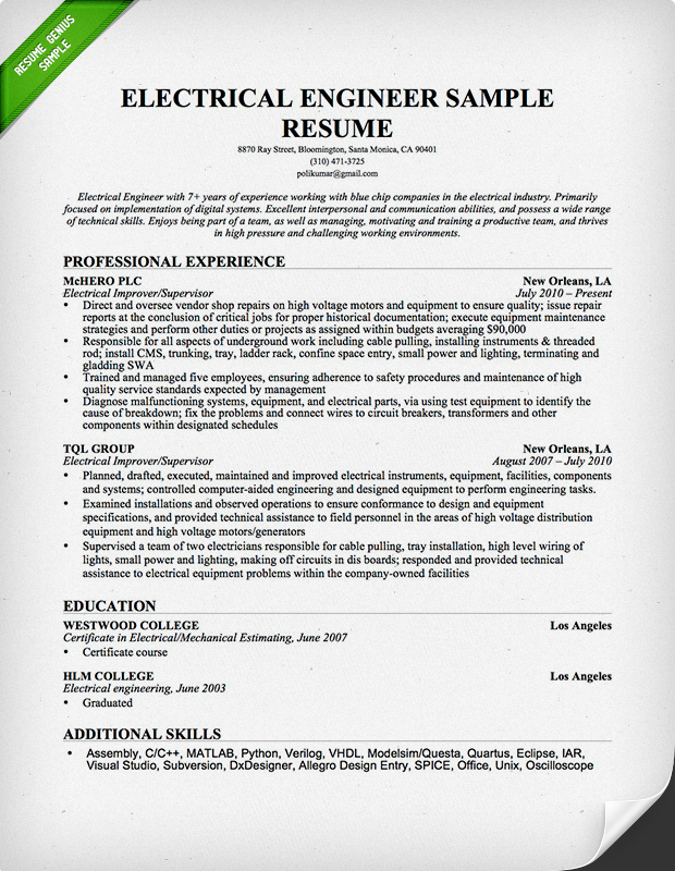 Electrical Engineer Resume Sample – Job Description of Electrical Engineer
