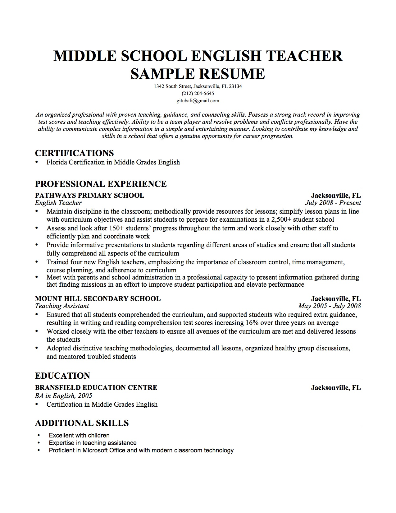Teacher Resume Post Elementary Teacher Resume Sample Page Examples Of  Teaching Resume Elementary Teacher Resume Sample