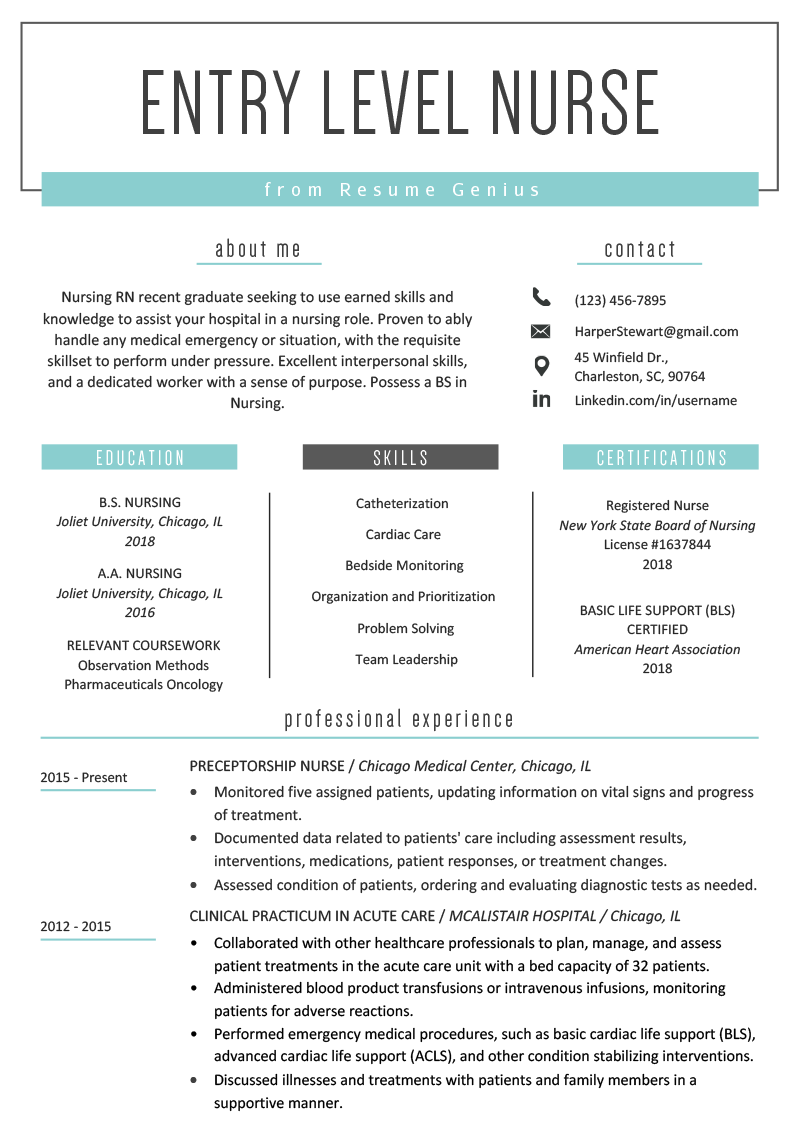 Registered Nurse Resume Template | Entry Level Nurse Resume Sample Resume Genius