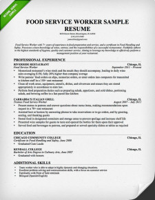 Food Service (Server) Resume Professional