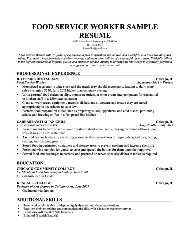 Education Sample Resume Food Service Resume Professional
