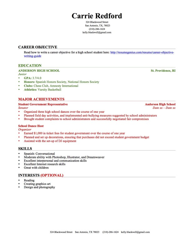 High School Resume Objective resume template high school resume objectives sample high school objective for high school student resume examples High School Rsum Sample