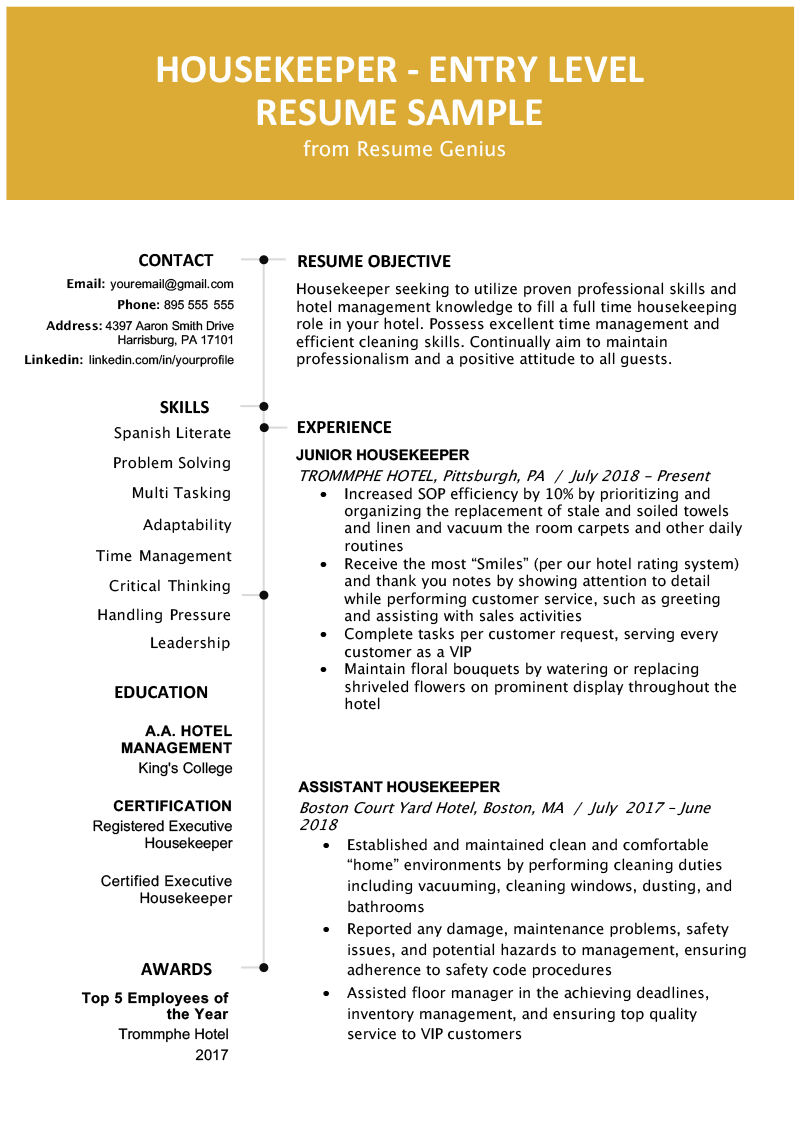 Housekeeping Resume Skills.Entry Level Hotel Housekeeper Resume Sample Resume Genius