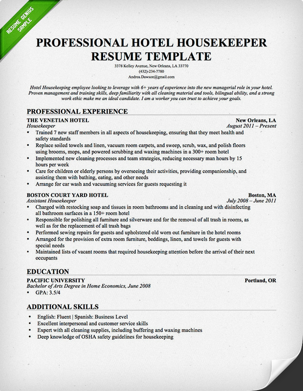 professional housekeeping resume sample - Housekeeper Resume Objective