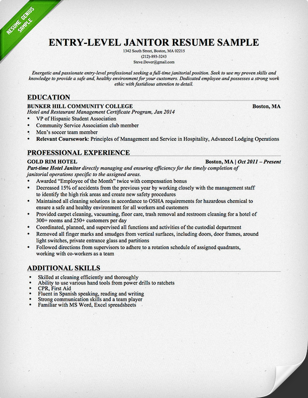 EntryLevel Janitor Resume Sample – Resume Samples Entry Level