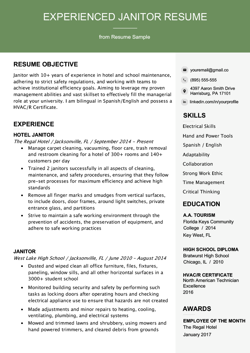 Professional Janitor Resume Sample Writing Tips Resume
