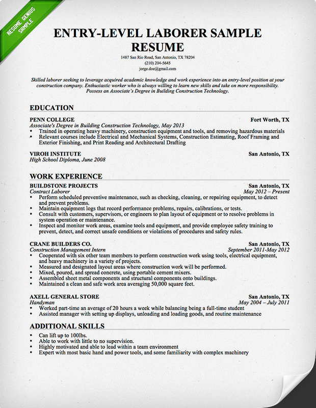 Laborer Resume Entry Level Entry Level Construction Resume · Entry Level Construction  Cover Letter Example