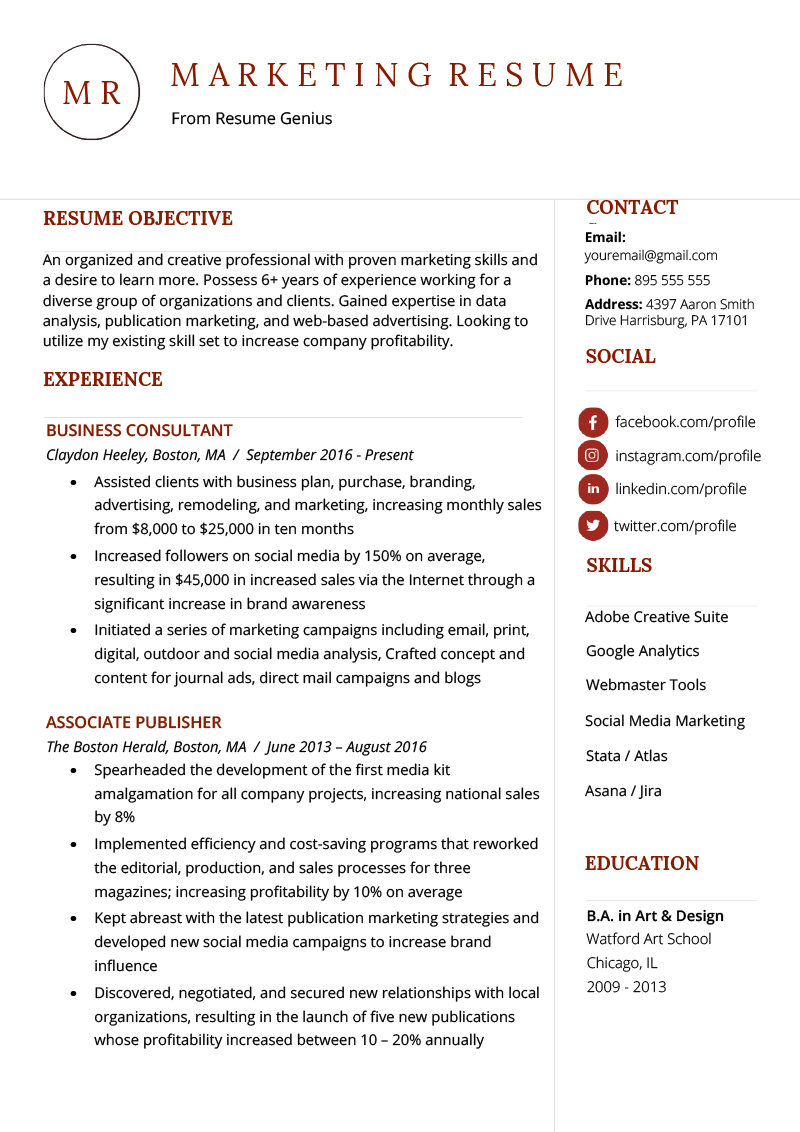 Marketing Resume Example Template