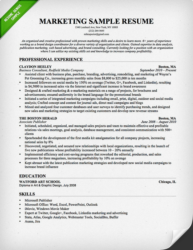 Marketing Resume Sample  Creative Resume Samples