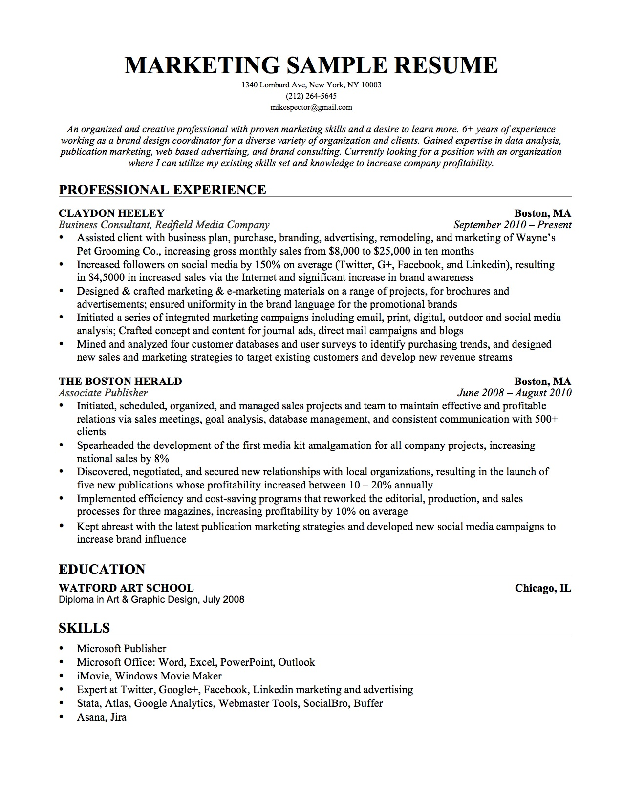 sales and marketing sample resume example resume sales marketing and job wining manager exampleg - Marketing Director Resume Examples