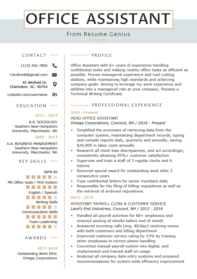 office assistant resume example writing tips resume genius