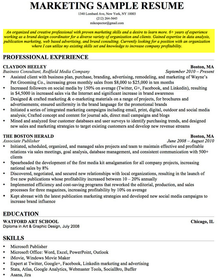 resume of career
