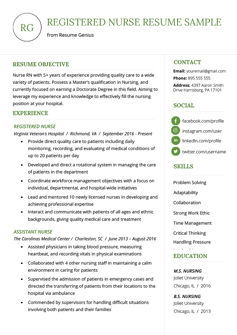 resumes for nurses template