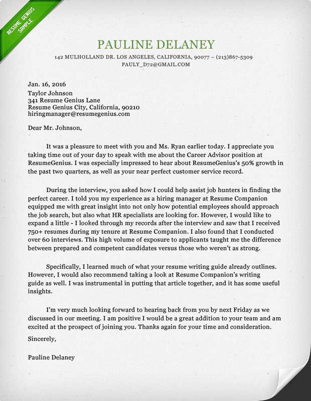 Thank you letter template sample and writing guide resume genius sample follow up template spiritdancerdesigns Image collections
