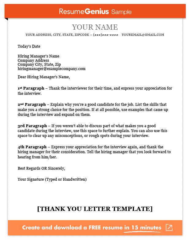 Thank you letter template sample and writing guide resume genius thank you letter sample negle