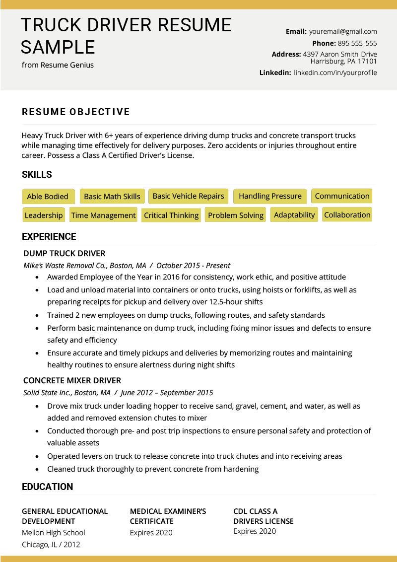 Truck Driver Resume Example Template