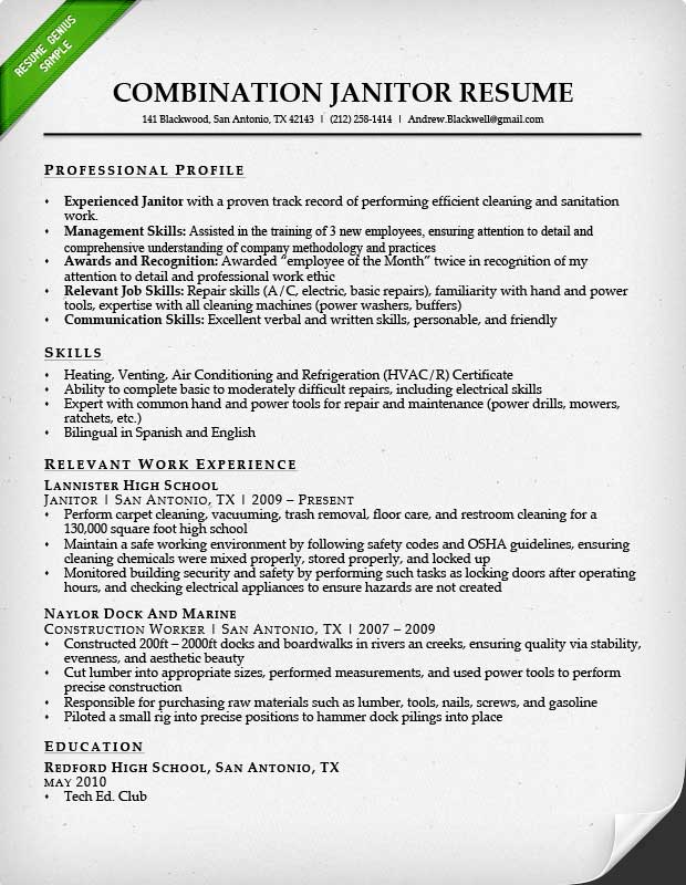 Resume Resume Sample For Janitorial professional janitor resume sample genius combination sample