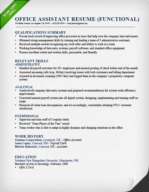 Waiter Functional Resume Example, Functional Resume For An Office Assistant  ...  Work Summary Examples