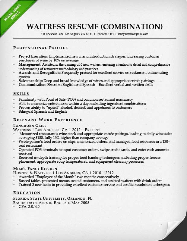 Waitress Combination Resume Sample  Customer Service Objective For Resume