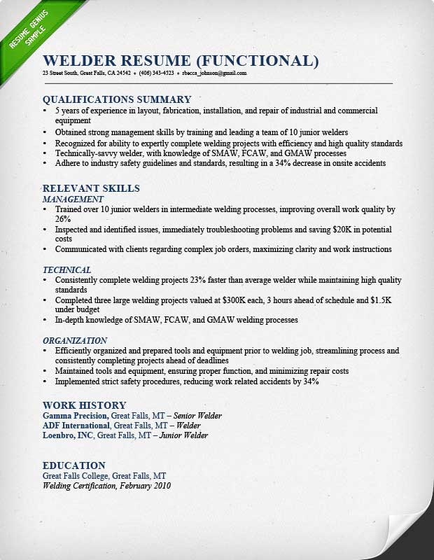 Welder Functional Resume Sample  Welding Resume Objective