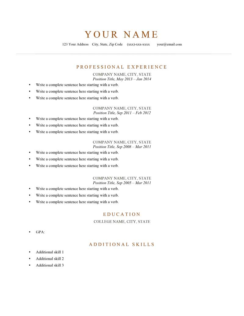 Elegant Burnt Orange  Simple Resume Format Examples