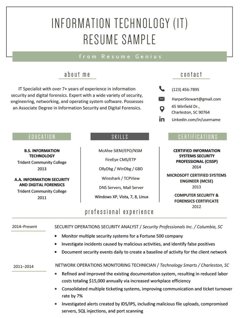 Information Technology (IT) Resume Sample | Resume Genius