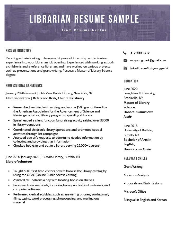 librarian resume sample  u0026 writing guide