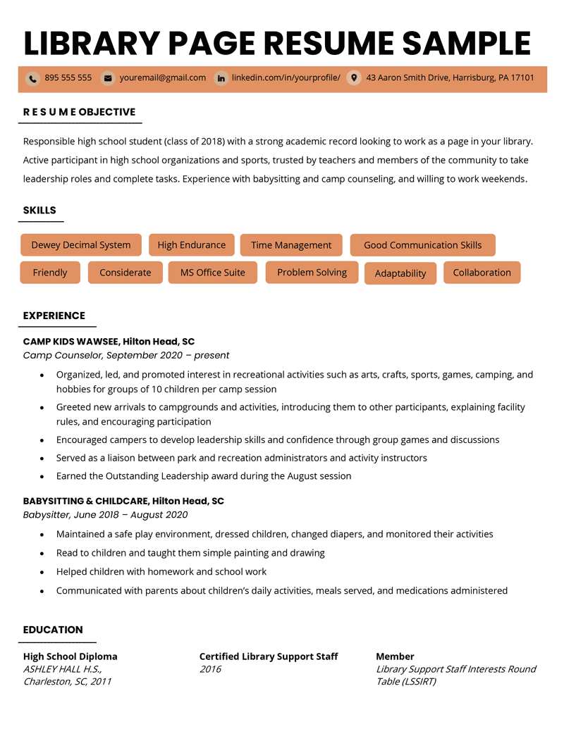 Library Page Resume Example Template
