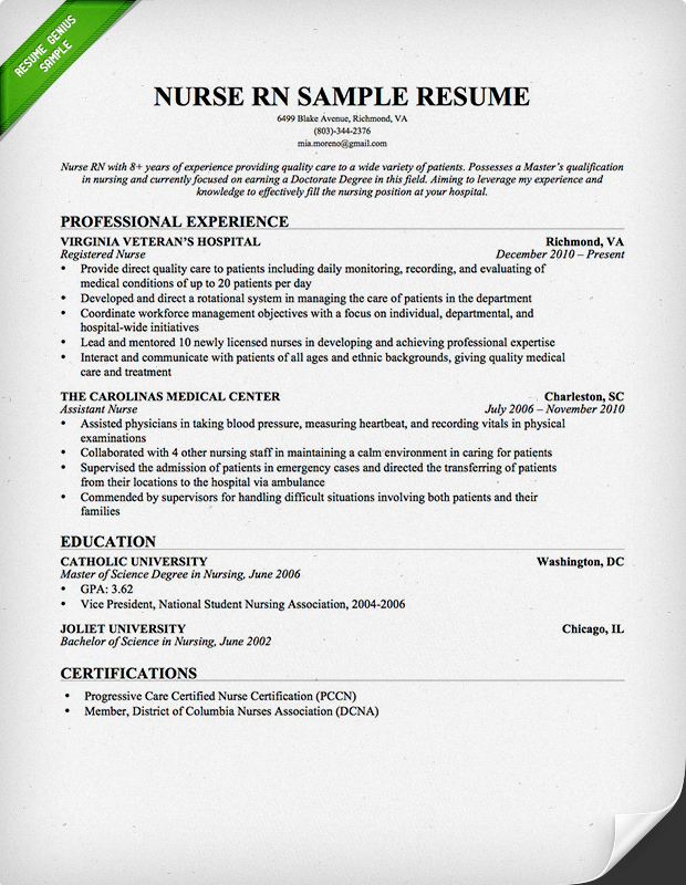 sample of resumes for nurses