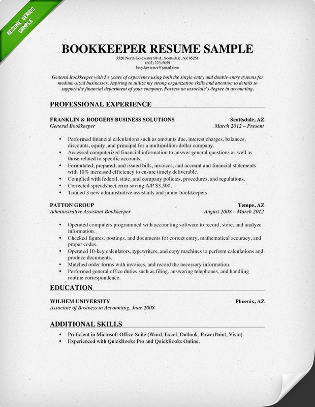 Bookkeeper Resume Sample  Sample Resume Outline
