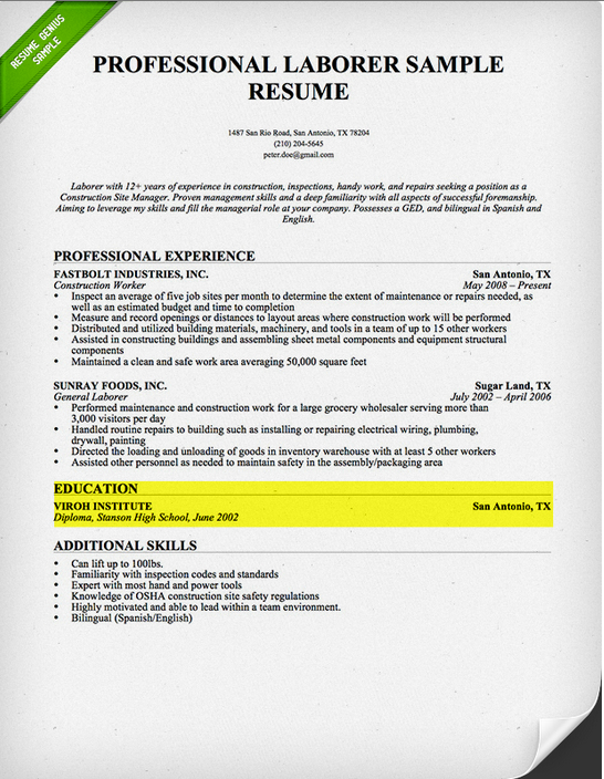 Professional Education Sample Education Sample 1  High School Graduate  How To Write A Resume High School
