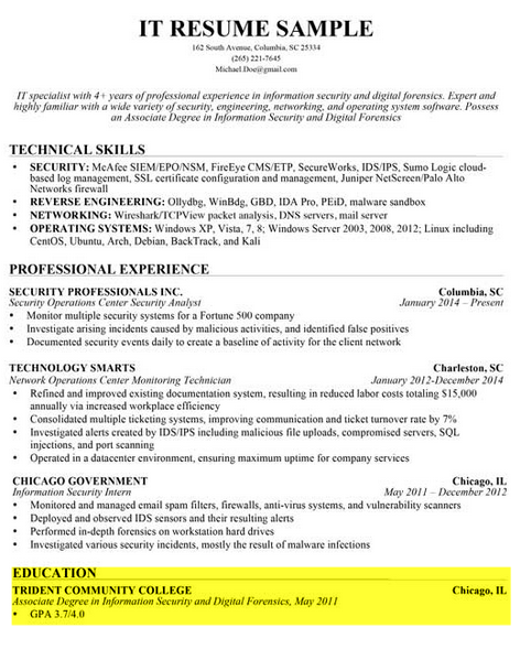 education sample 2 - Write A Resume