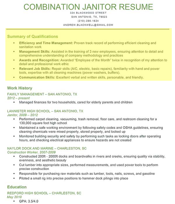 janitor combination resume1 - Resume Profile