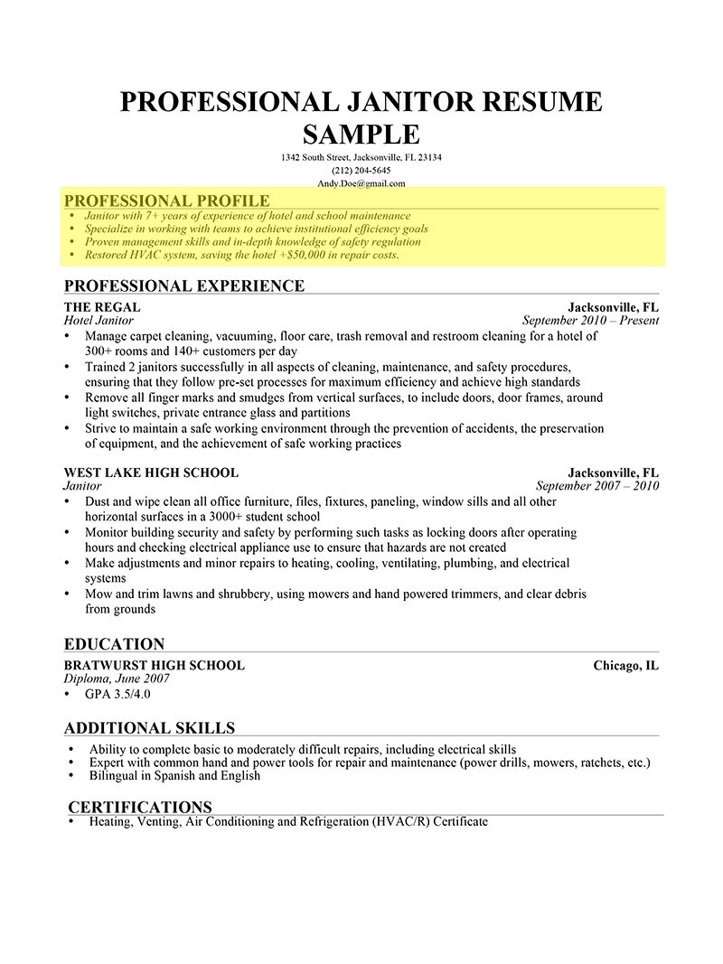 Janitor Professional Profile  How To Write A Resume High School