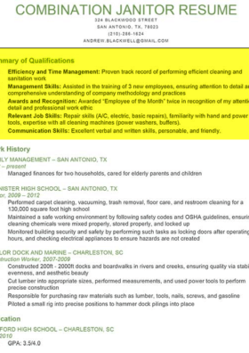 Janitor Resume Example With A Qualifications Summary Highlighted