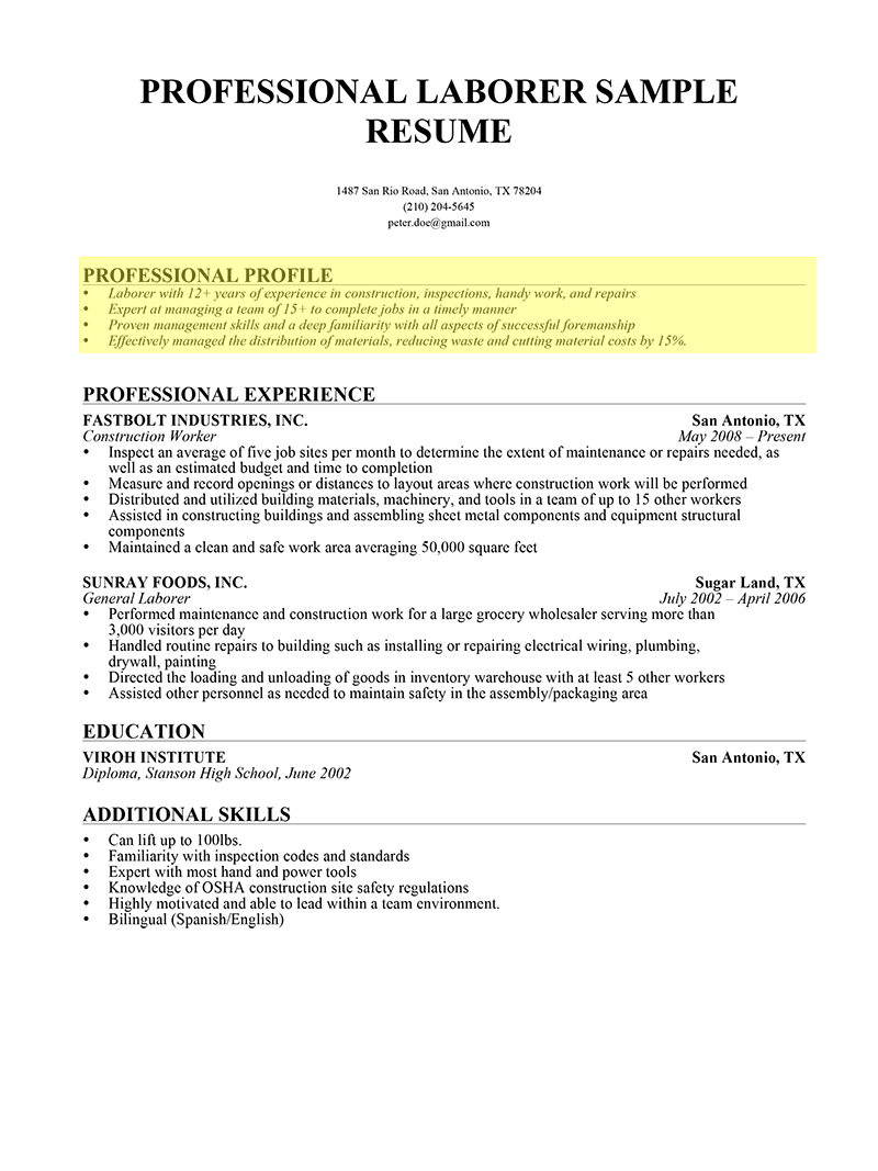 laborer professional profile 1 - Sample Profile Summary For Resume