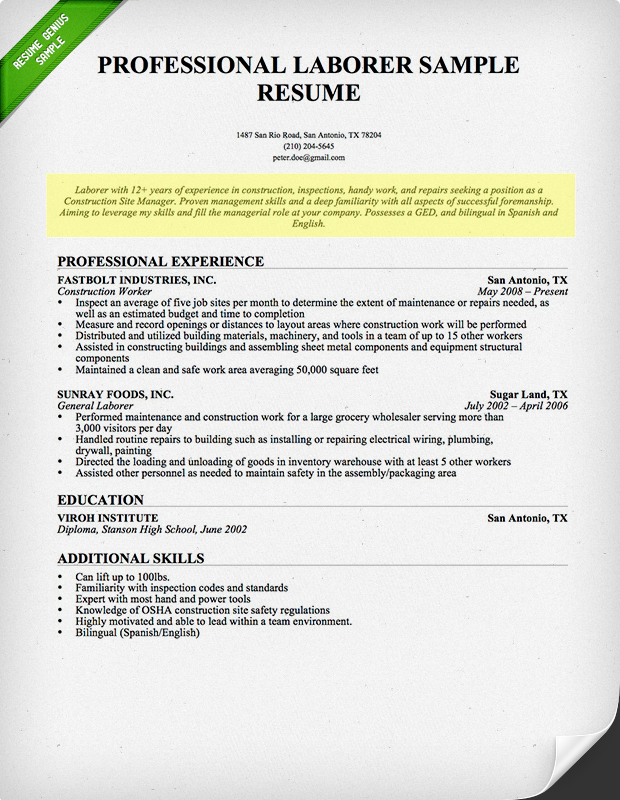 Laborer Resume Professional  Example Resume Profile