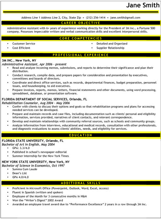 lines example - Proper Format Of A Resume