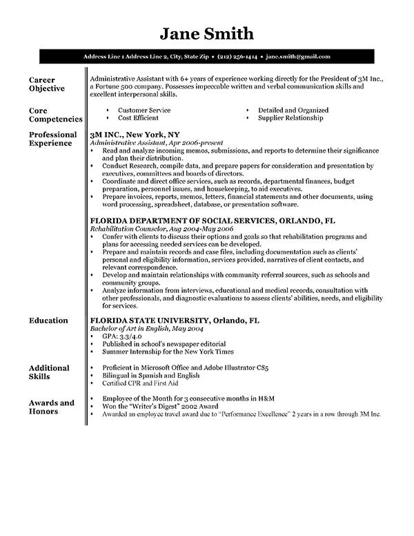 resume template bw executive executive bw - Objective Of Resume Sample